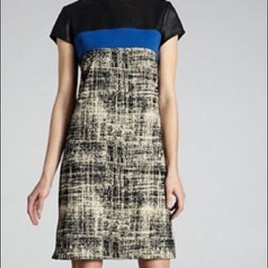 Muse Black/blue/Ivory Abstract cap sleeve dress